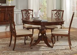 cinnamon finish round classic dining table w pedestal leg