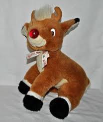 vintage dakin rudolph nosed reindeer velour plush stuffed