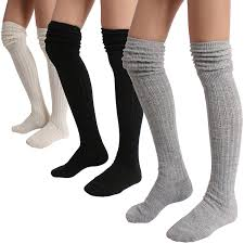 stylegaga winter slouch top the knee high knit boot socks one