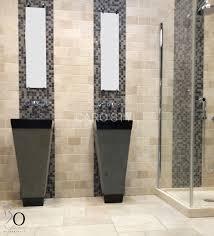 travertin salle de bain vasque a poser travertin