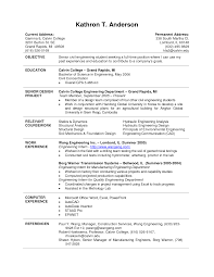 Internship Resume Sample For College Students Curriculum Vitae Samples For Computer Engineers