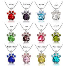 pink pendant necklace images Birthstone paw print pendant necklace snake chain red blue white jpg