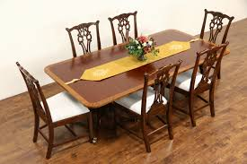 queen anne dining room sets sold baker charleston collection signed banded 2 pedestal dining