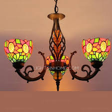 Multi Coloured Chandeliers Color Glass Shade 3 Light Antique Chandeliers For Sale