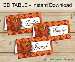 editable instant printable thanksgiving place cards fall