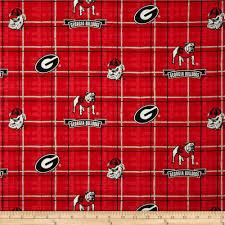 Georgia Bulldog Home Decor by Collegiate Cotton Broadcloth University Of Georgia Plaid Red