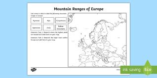 mountain ranges worksheet european countries geography