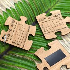 engraved wooden puzzle wedding save the date timber wedding save