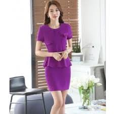 styles of work suites ladies fashion purple summer short sleeve work suits tops and skirt