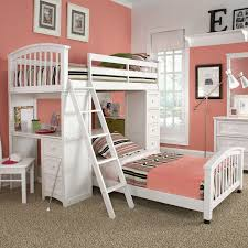 bedroom low loft bed for kid made of wooden in white finished