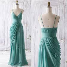 Long Draped Dress 2016 Teal Bridesmaid Dress Long Draped Wedding Dress V Neck Prom