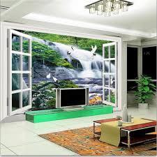 online get cheap waterfalls wall mural window aliexpress com 3d wallpaper photo wallpaper custom living room mural window waterfall deer painting sofa tv background wall