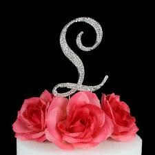 l cake topper letter l cake topper monogram 5 inch silver rhinestone images