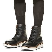 lanshitina black leather boots retro style men booties high top
