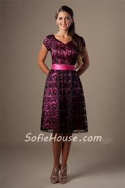 modest bridesmaid dresses line sweetheart sleeve hot pink satin black lace modest