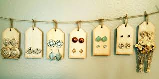 organize stud earrings diy stud earring holder just poke holes in wooden tags with a