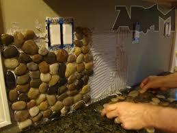 River Pebble Tile Kitchen Backsplash A DIY Project Anyone Can Do - Pebble backsplash