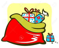 cartoon santa u0027s bag with gifts christmas illustration royalty