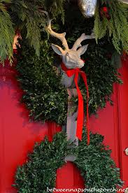 Christmas Decorations For Deer Mounts by Christmas Front Porch With Three 3 Boxwood Wreaths Deer Head