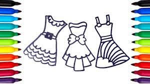 coloring pages dresses for girls dresses coloring videos drawing
