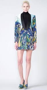 how to wear a printed silk shawl blazer as a dress like rihanna