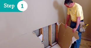 Fiberglass Wainscoting Basement Wall Restoration Wet Drywall Repair Solution