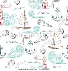 nautical wrapping paper vector seamless patterns nautical objects stock vector