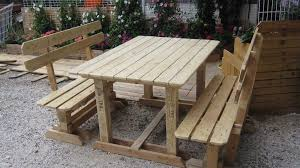 How To Make Pallet Patio Furniture by Outdoor Pallet Benches U0026 Table U2022 1001 Pallets