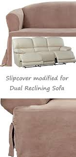 Reclining Sofa Slipcover Reclining Sofa Slipcover T Cushion Suede Taupe Sure Fit