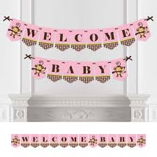 monkey baby shower bunting banner pink party decorations