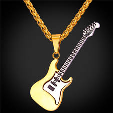 guitar necklace images Rock guitar pendant necklace gold plated stainless steel pendant jpg