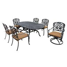 Aluminum Cast Patio Dining Sets - hanover manor 7 piece round cast top patio dining set with two