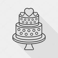 wedding cake flat icon with long shadow line icon u2014 stock vector