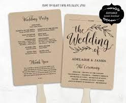 wedding program paddle fan template free printable wedding program template rustic wedding fan program