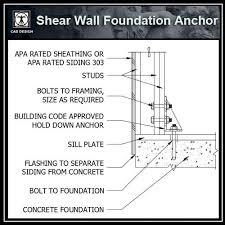 autocad architektur free cad details shear wall foundation anchor 25000 autocad