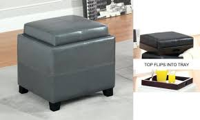 Leather Storage Ottoman With Tray Mitchell 2 Tray Top Bonded Leather Storage Ottoman Leather