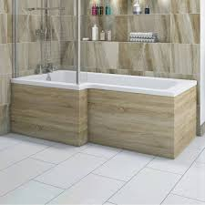 l shaped shower bath wooden front panel drift oak 1500mm boston oak shower bath side panel 1500