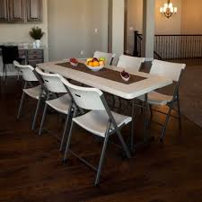 lifetime 6 ft commercial fold in half table with handle almond