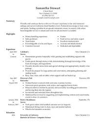 exles of resumes for restaurant resume exles for servers exles of resumes