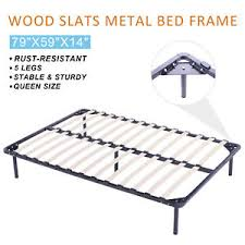 Metal Bed Frame With Wooden Slats 5 Legs 1200lbs Weight Capacity Metal Platform Bed Frame Wood Slats