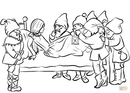 snow white and dwarfs coloring page free printable coloring pages
