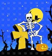 Halloween Skeleton Halloween Skeleton On Cemetery Vector Image 1841 U2013 Rfclipart