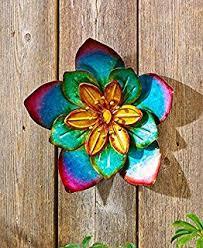 amazon com metal outdoor wall art metallic garden flowers gold