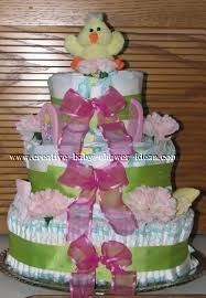 baby shower diaper cake ideas green pink tiered diaper cake with