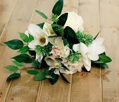Silk Wedding Flowers Magnolia Silk Wedding Bouquet With Hydrangea Roses And Calla