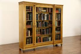 antique bookcase glass doors library cabinet with glass doors