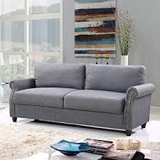 amazon com classic living room linen sofa with nailhead trim