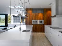 stylish home interior design modern white kitchen interior decoration with laminate wood wall