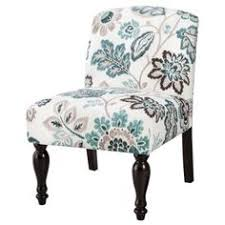 Floral Accent Chairs Living Room Armless Upholstered Slipper Chair Aegean Blue Yellow Floral