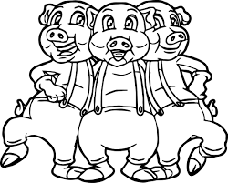 three little pigs dancing coloring page wecoloringpage